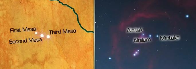 "The three Hopi Mesas align ""perfectly"" with he constellation of Orion.  Credit History Channel. 63364d43d12b5"