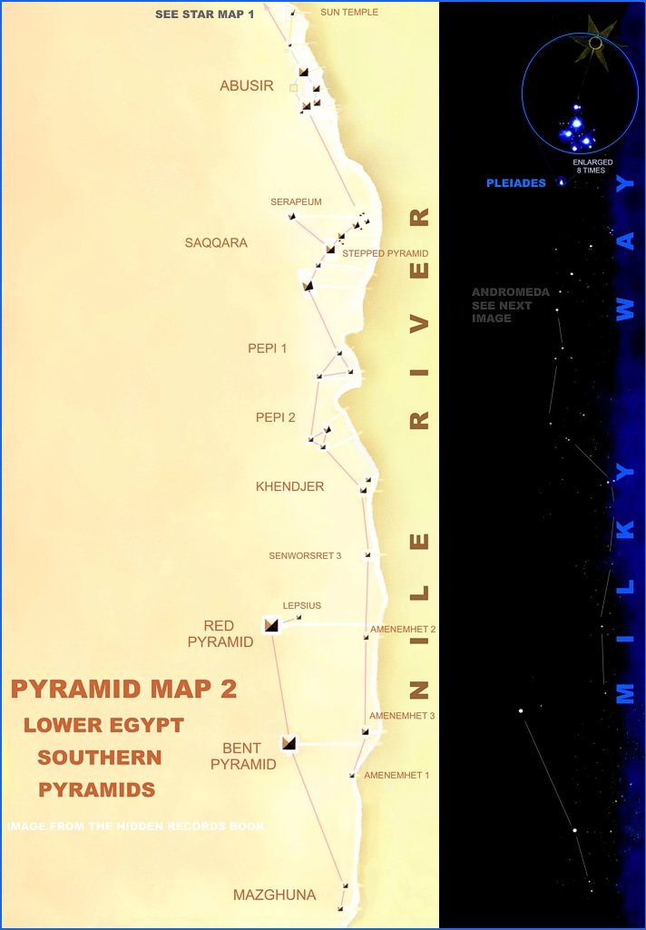 Egyptian Star Map - Map of egypt with pyramids