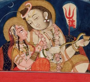 Shiva as a householder with wife Parvati as depicted in an 1820 Rajput painting.