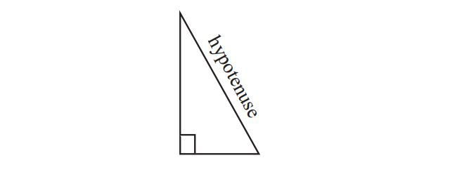 Figure 1. A right-angled triangle with hypotenuse shown.
