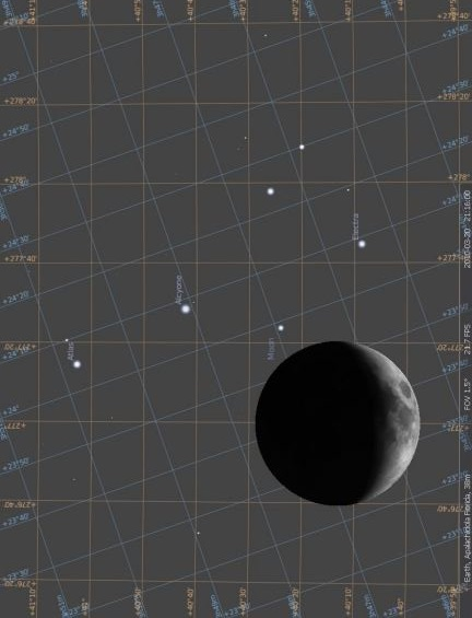 This is an image from the astronomy program Stellarium (free at Sourceforge) on the night of March 20, 2010 when the moon occulted the Pleiades. Notice that it strongly resembles the little dipper. This image is as you would see from earth. We have rotated the image 90 degrees left, and if you compare it to the Sky Disk you will notice that the it is the same representation as seen on the Nebra Sky Disk.