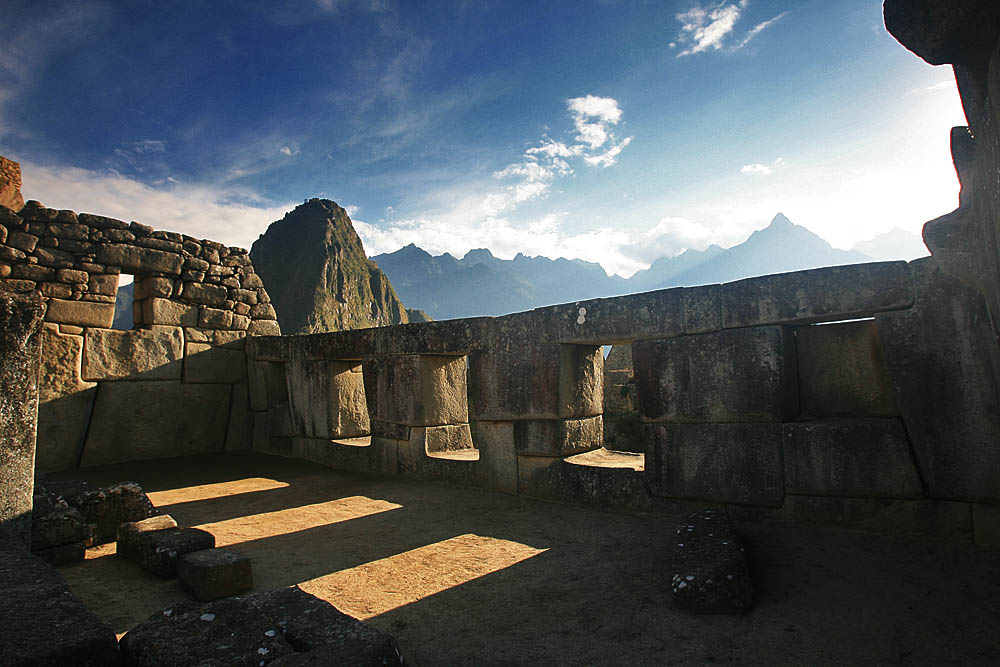 The three windows temple at Machu Picchu. The three windows seem to present in construction methods in several cultures. Image Credit unknown :(