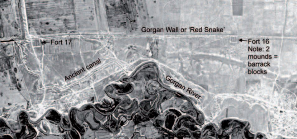 Corona satellite photograph taken in c.1969 showing<br /> the snaking course of a canal which led water from the Gorgan<br /> River to the ditch north of the Gorgan Wall at Fort 17. Image credit: Corona, courtesy of US Geological Survey