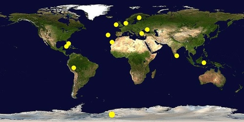 Proposed locations of Atlantis marked by a yellow spot on a World Map.