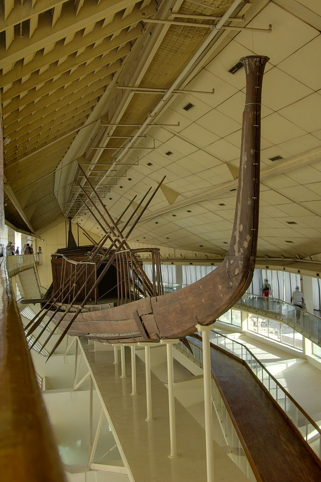 """The reconstructed """"solar barge"""" of Khufu. Image Credit Wikipedia"""