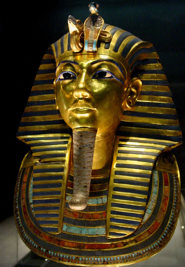 Mask of Tutankhamun's mummy, the popular icon for ancient Egypt at The Egyptian Museum. Image Credit: wikipedia