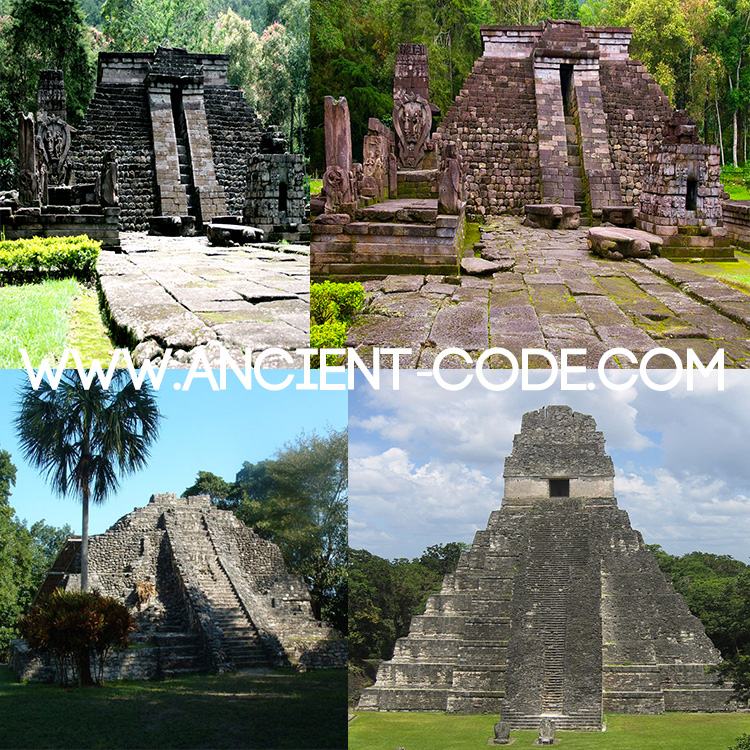 A comparison of the Pyramids of Cetho and Sukuh (above) and the Maya temples of Tikal and Chacchoben (below)