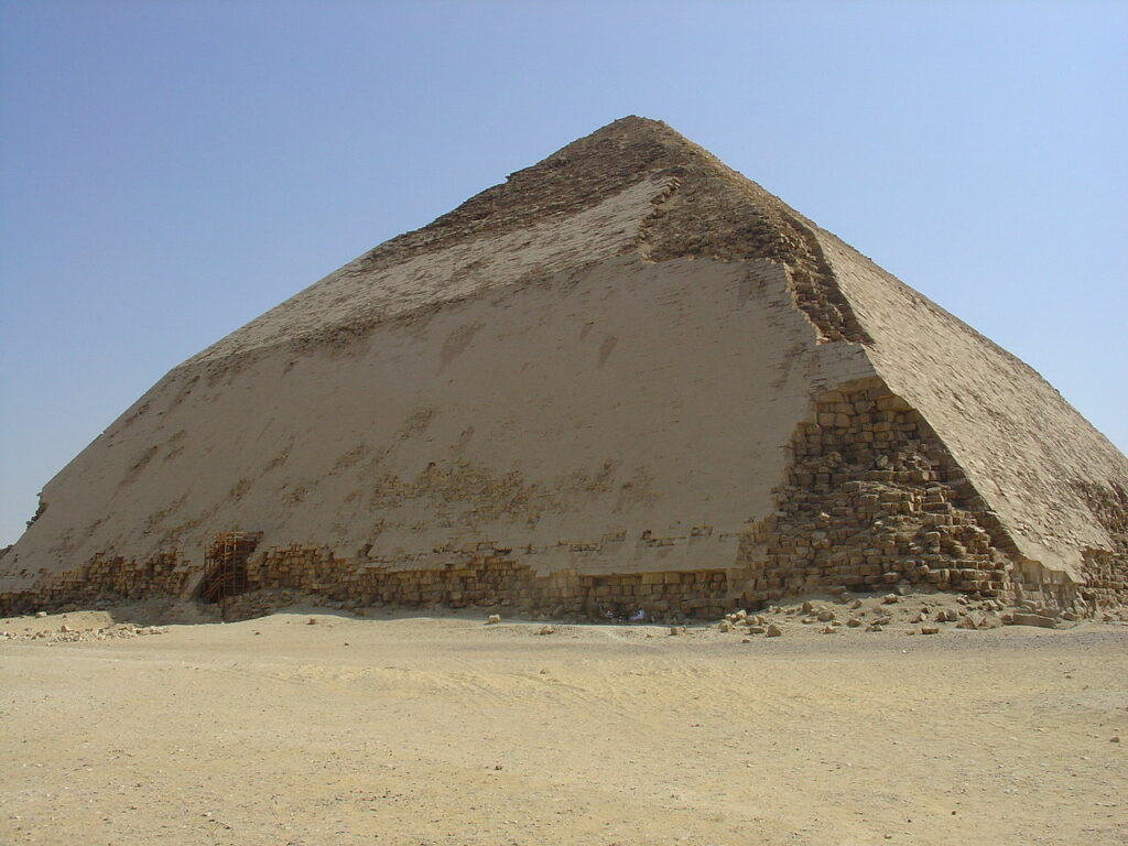 Sneferu's Bent Pyramid in Dahshur. Image Credit Wikipedia