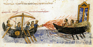 Greek fire in use against another ship. Image Credit: Wikipedia