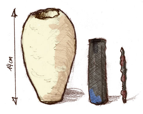 Baghdad Battery Drawing from different pictures of the museum artifact. Image Credit: Wikipedia