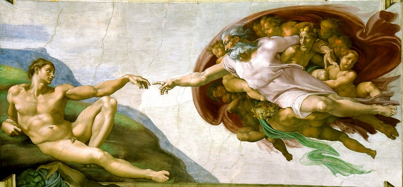 Michelangelo creation God Man, Secret message Sistine Chapel