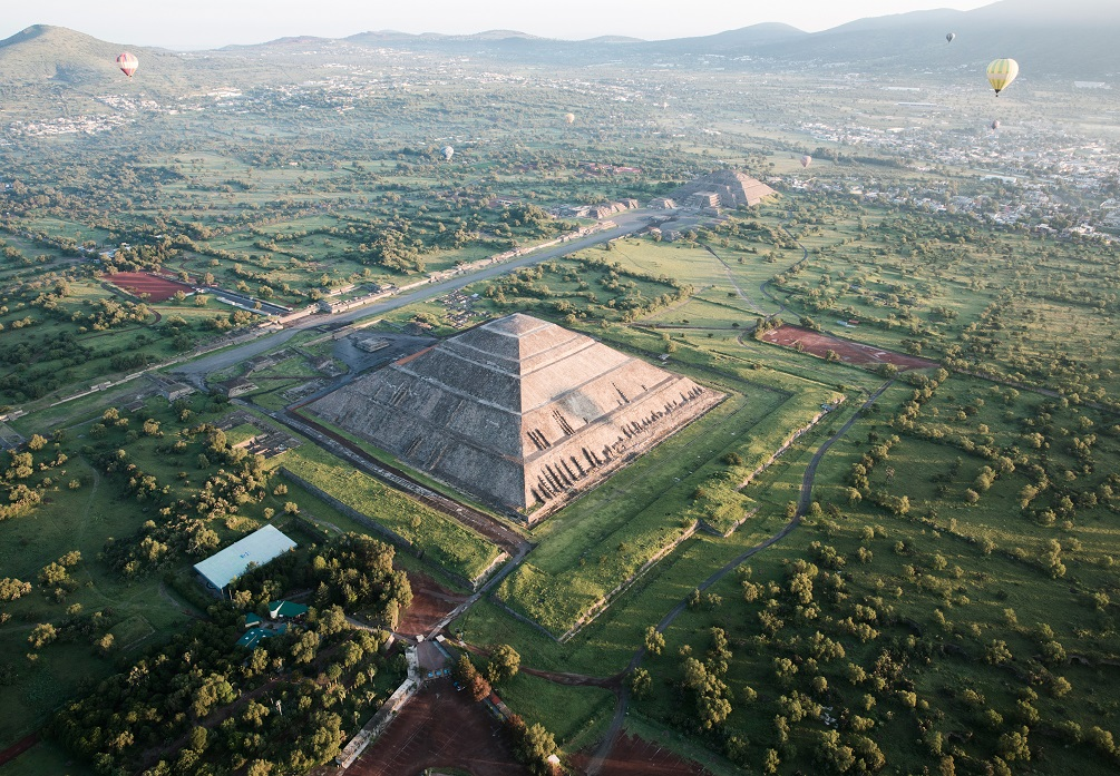 View of Teotihuacan from the air