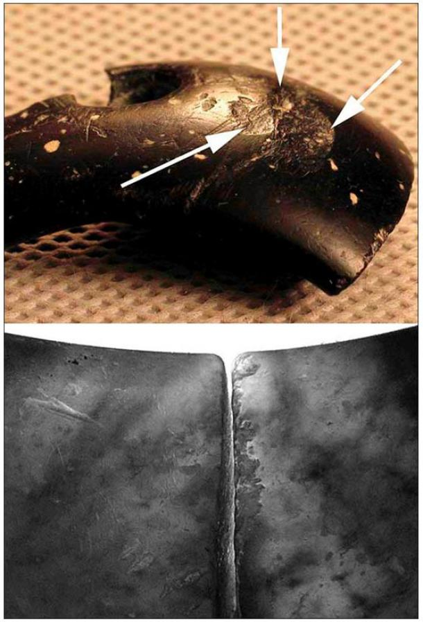 The traces of reparation on the cracks. Bracelet had suffered damage, including visible scratches and bumps. Pictures: Anatoly Derevyanko and Mikhail Shunkov