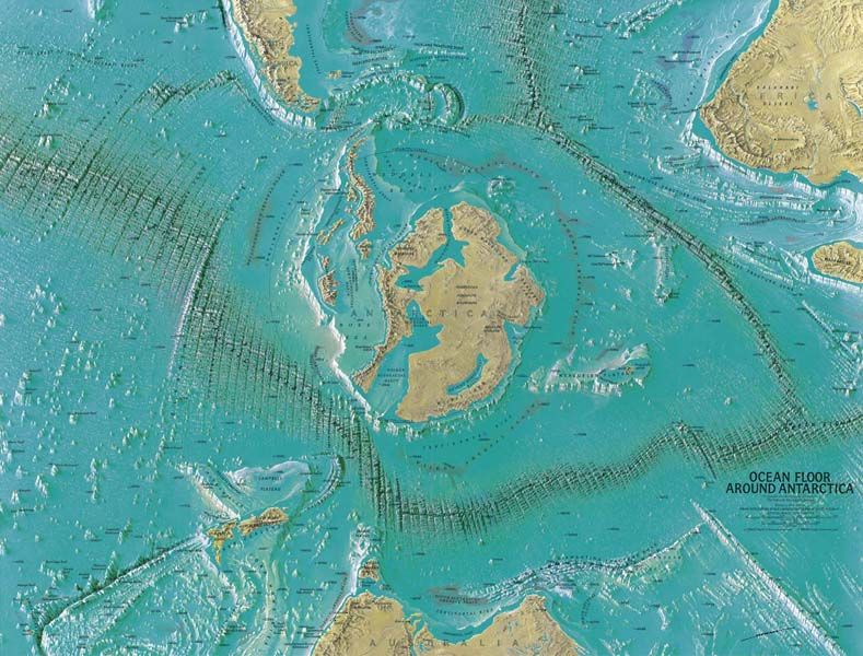 Map made by Heinrich C. Berann for the National Geographic Society in 1966. Apparently showing the entrance to Inner Earth.