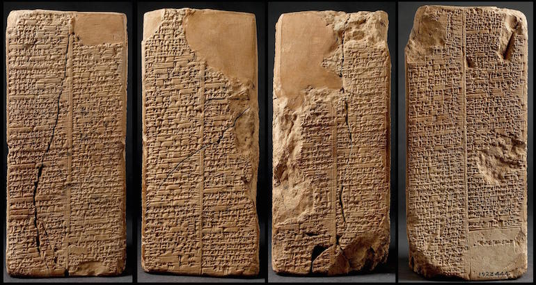 "The Sumerian King List: ""1-39 After the kingship descended from heaven, the kingship was in Eridug. In Eridug, Alulim became king; he ruled for 28800 years. Alaljar ruled for 36000 years. 2 kings; they ruled for 64800 years. Then Eridug fell and the kingship was taken to Bad-tibira. In Bad-tibira, En-men-lu-ana ruled for 43200 years. En-men-gal-ana ruled for 28800 years. Dumuzid, the shepherd, ruled for 36000 years. 3 kings; they ruled for 108000 years. Then Bad-tibira fell (?) and the kingship was taken to Larag. In Larag, En-sipad-zid-ana ruled for 28800 years. 1 king; he ruled for 28800 years. Then Larag fell (?) and the kingship was taken to Zimbir. In Zimbir, En-men-dur-ana became king; he ruled for 21000 years. 1 king; he ruled for 21000 years. Then Zimbir fell (?) and the kingship was taken to Curuppag. In Curuppag, Ubara-Tutu became king; he ruled for 18600 years. 1 king; he ruled for 18600 years. In 5 cities 8 kings; they ruled for 241200 years. Then the flood swept over."""