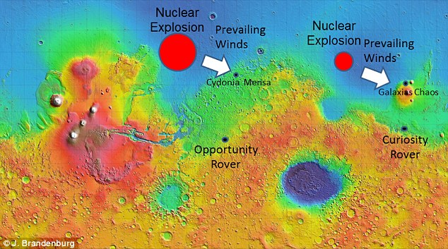 Dr John Brandenburg is to present his theory in Houston, Texas today. He says an ancient Mars civilisation was wiped out by a nuclear bomb. A thin layer of radioactive substances including uranium, thorium (shown in graphic) and radioactive potassium on the surface supposedly provide evidence for this theory