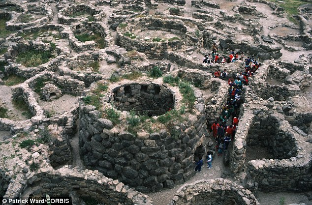 The most complex of the Island's Bronze Age structures is Su Nuraxi, at Barumini, which was discovered in 1950. The fortress, constructed from huge basalt blocks, is surrounded by a maze of circular walls (pictured) – the remnants of a later hamlet
