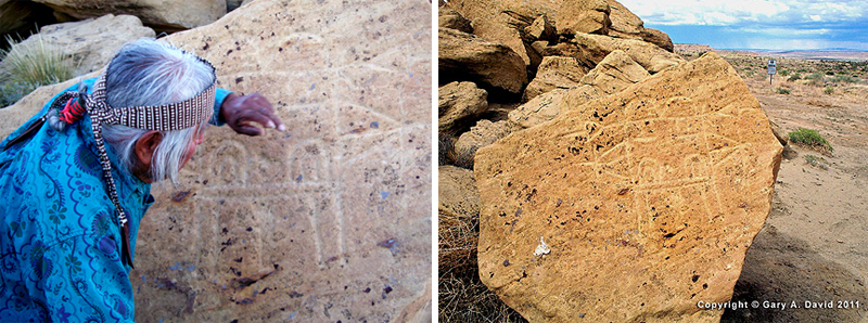"Grandfather Martin Gashweseoma of Hotevilla (Third Mesa) next to petroglyph, possibly depicting a ""flying shield."""