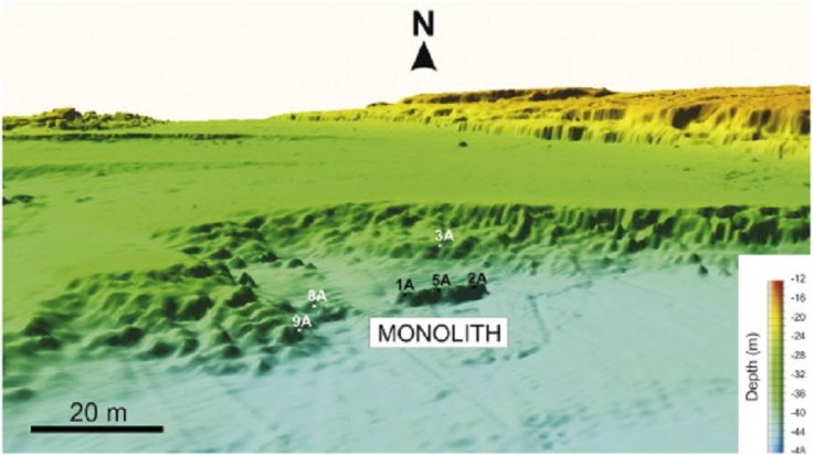 3-D perspective view of the high-resolution bathymetric map where the monolith has been discovered(Lodolo et al/Journal of Archaeological Science: Reports)