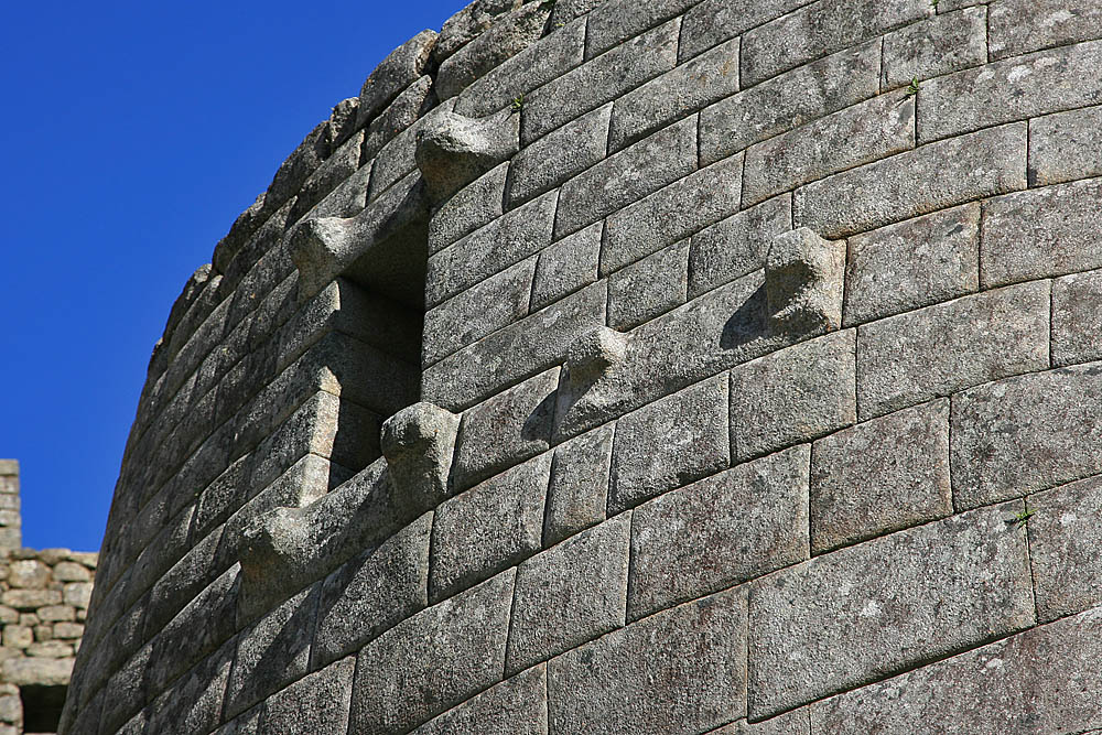 Another image of the Temple of the Sun, Machu Picchu, Peru. Notice the incredible details of this structure. Again, not a single sheet of can fit in-between the rocks.