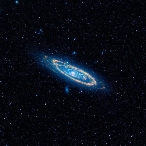 A false-color image of the mid-infrared emission from the Great Galaxy in Andromeda, as seen by Nasa's WISE space telescope.