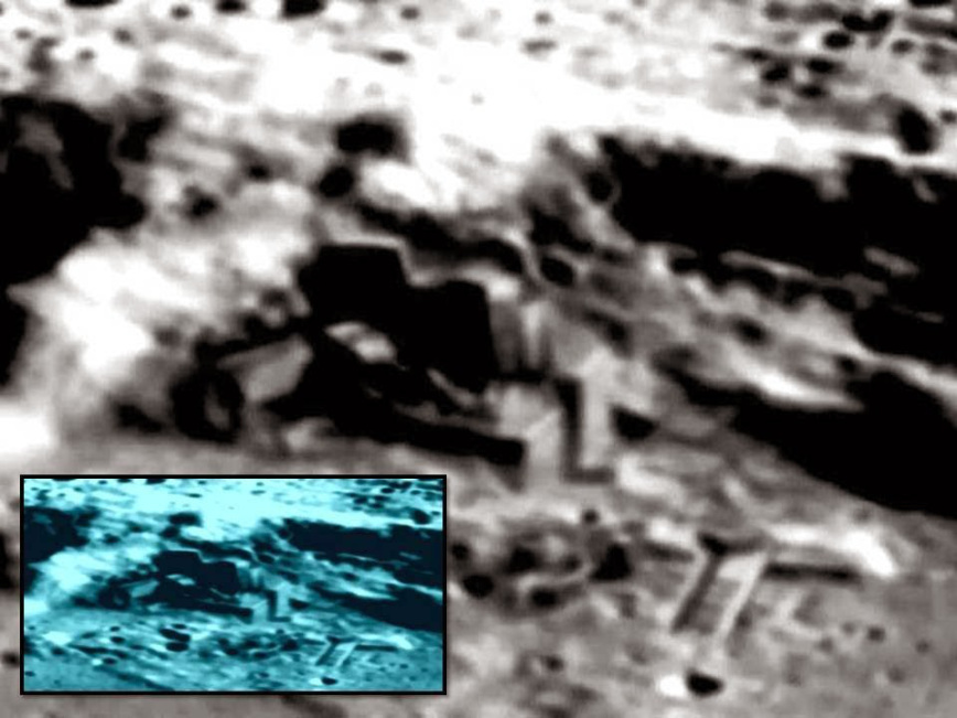 According to UFOlogists, this image allegedly shows an alien base on the moon.