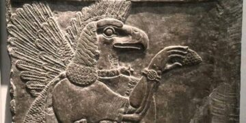 A depiction of an ancient Sumerian God