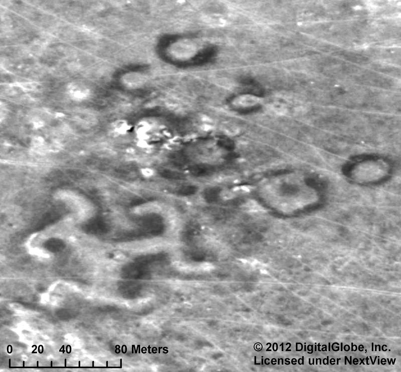 A message to the gods? Massive Geoglyphs around the world Turgaiswastika2