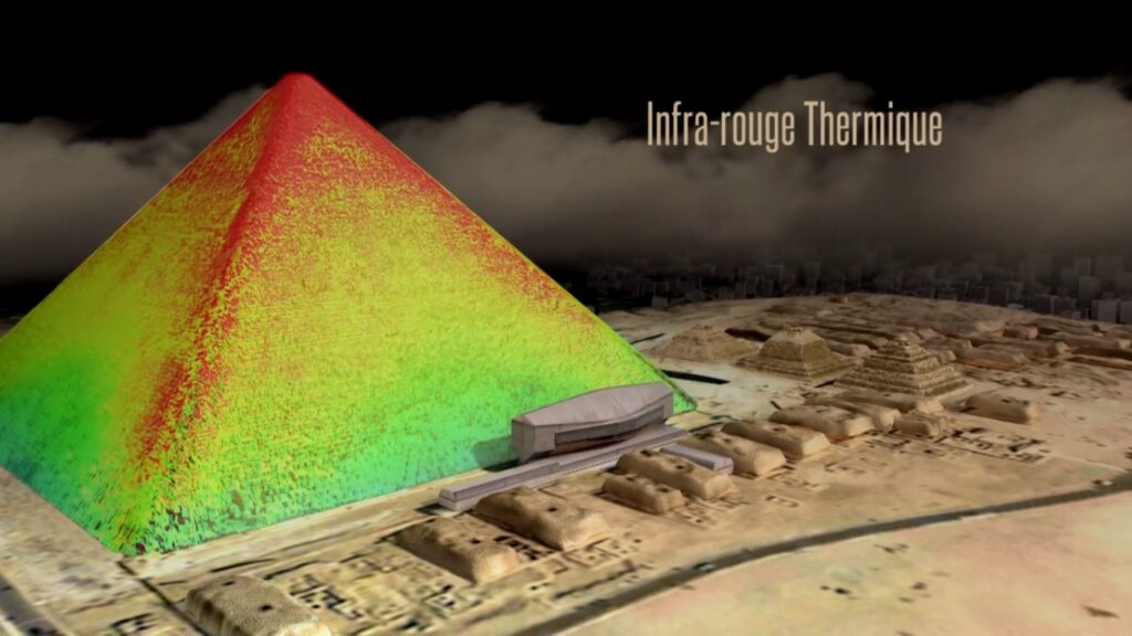 Render of thermal imaging's use to detect different temperatures inside the pyramid. Image: HIP Institute