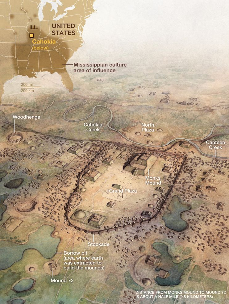 Image Above: NG STAFF. ART: GREG HARLIN. SOURCES: BILL ISEMINGER AND MARK ESAREY, CAHOKIA MOUNDS STATE HISTORIC SITE; JOHN KELLY, WASHINGTON UNIVERSITY IN ST. LOUIS