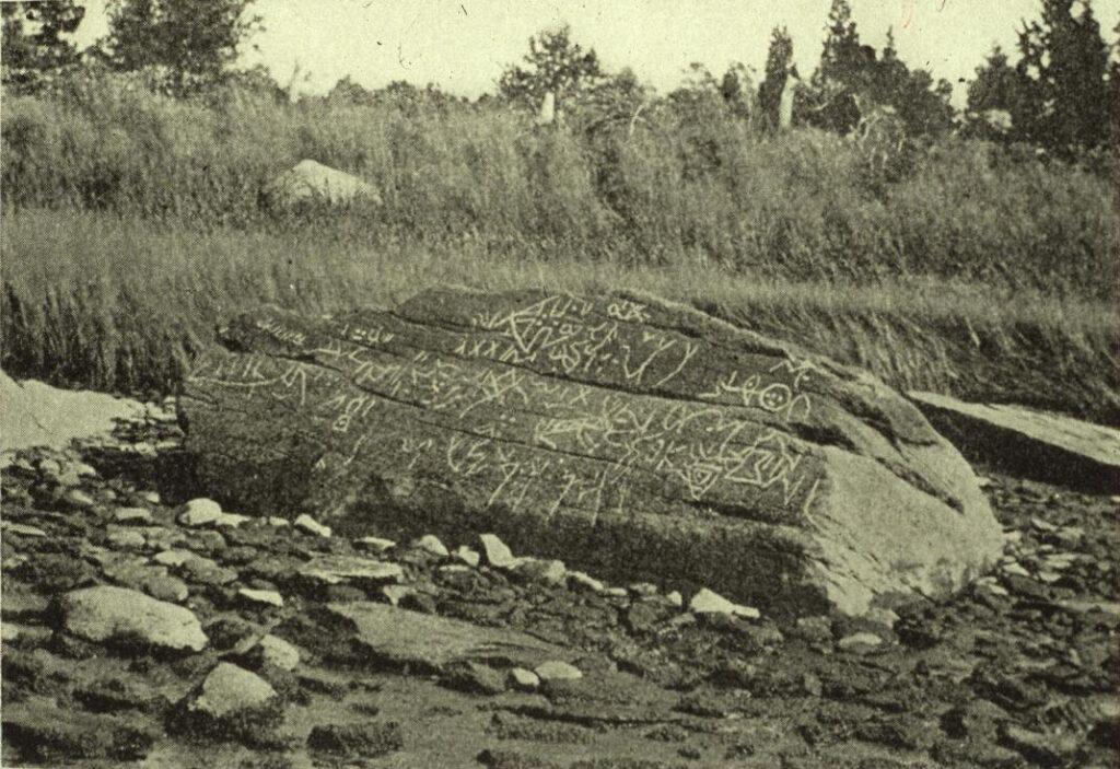 Fotografía de la roca Dighton tomada por Davis en 1893.