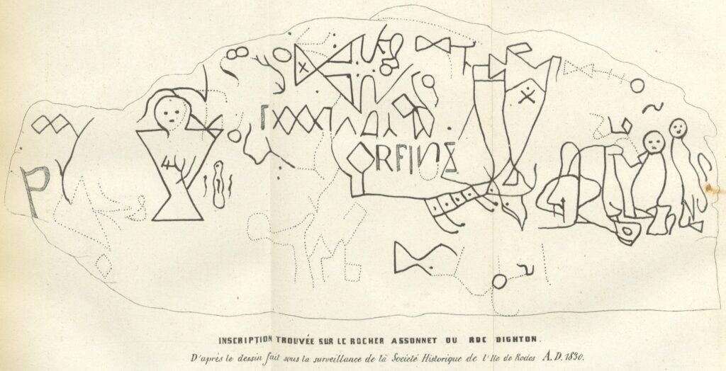 Una copia exacta de todos los símbolos o petroglifos de la Comisión Histórica de Providence, Rhode Island, publicada en 1830 Crédito de la imagen Wikimedia Commons