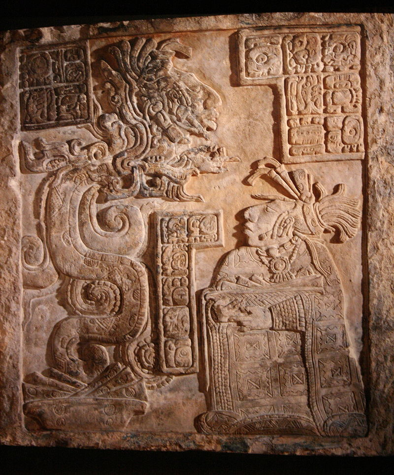 Maya site of Yaxchilan, Mexico, Late Classice Period. Lintel 15 of Structure 21 depicting Lady Wak Tuun, one of the wives of king Bird-Jaguar IV during a bloodletting rite. British Museum. Credit: Wikipedia