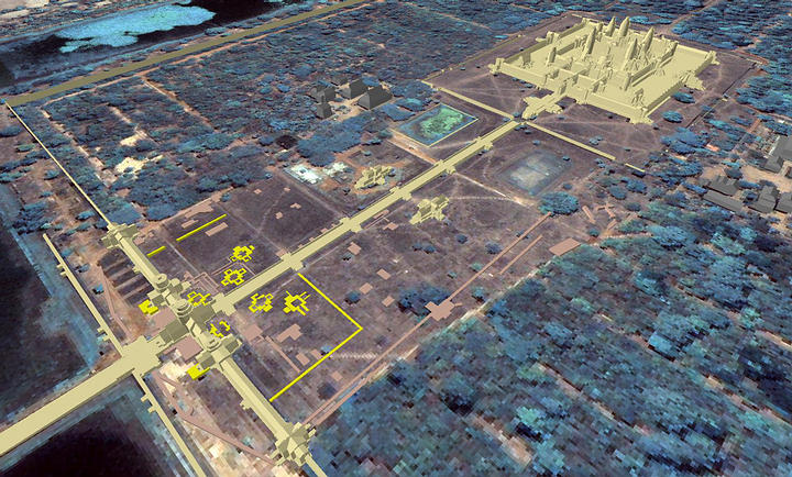 The remains of the mysterious towers are seen in this image marked with yellow.