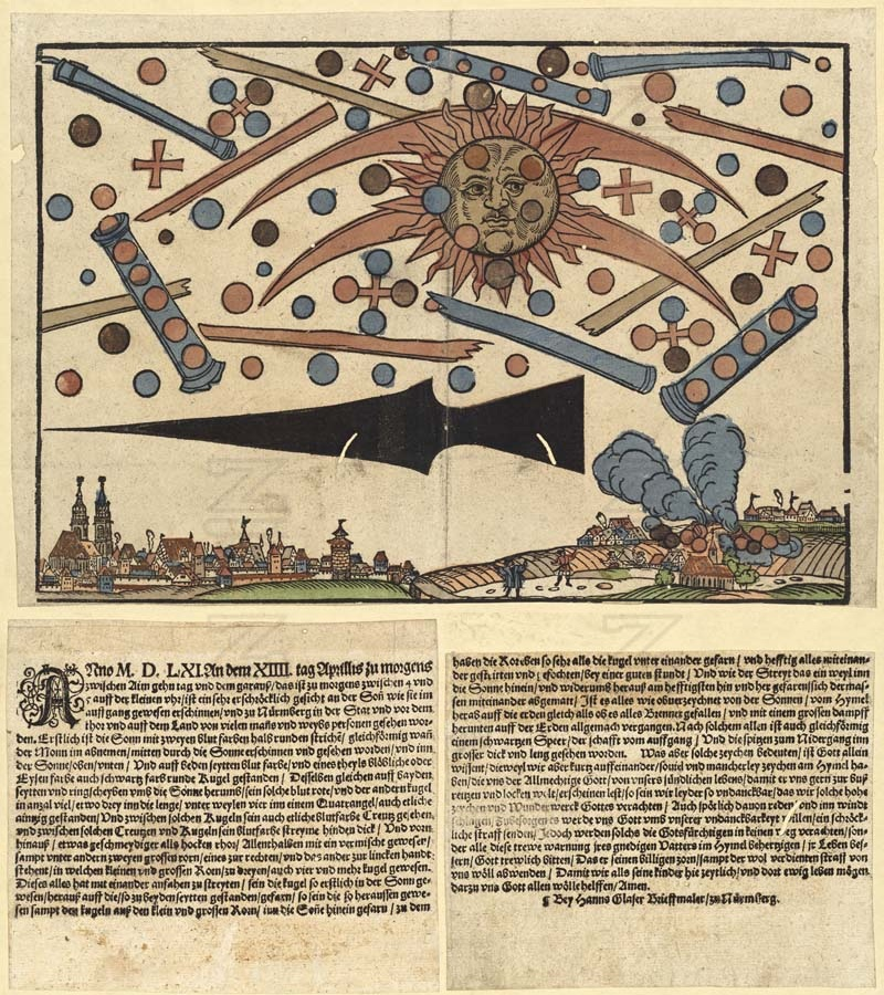 News notice (an early form of newspaper) printed on 14 April 1561 in Nuremberg, describing the celestial phenomenon that occurred over Nuremberg on the 4th of April 1561. From en:Wickiana collection, an important collection of news items from the 16th century.