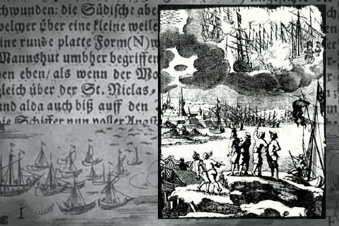 "Right: A 1680 engraving accompanying a description by Erasmus Francisci of a battle between ships in the sky said to take place in 1665. Background: Text and an image from ""An Illustrated Description of the Miraculous Stralsund Air-wars and Ship-battles), 1665."