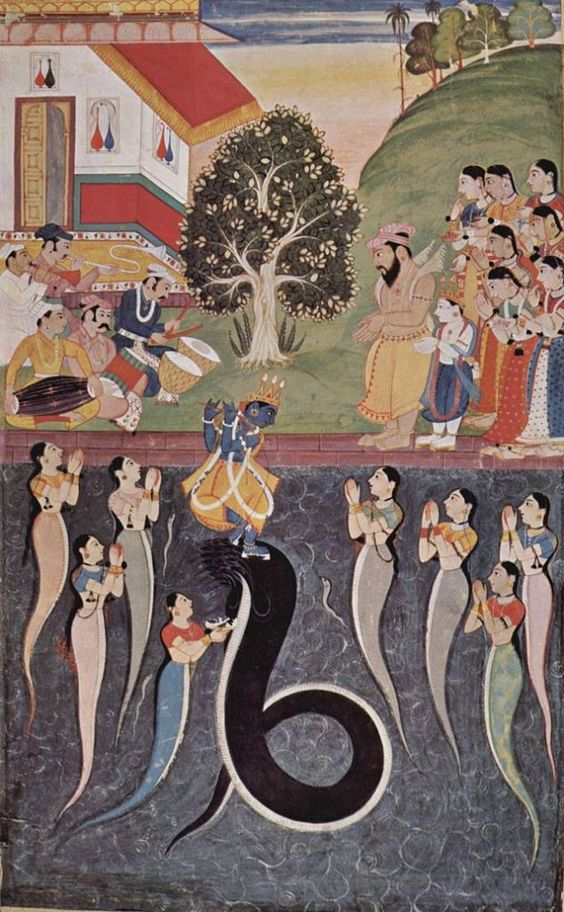 Lord Krishna dancing on the serpent Kaliya; while the serpent's wives pray to Krishna. Credit Wikipedia