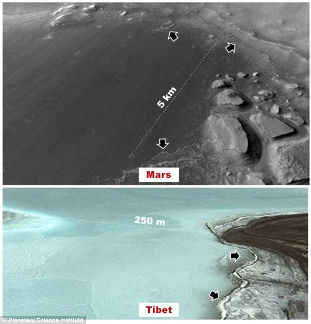 The top image shows the floor of a basin where scientists suggest, shallow lakes could have formed within the last few tens of millions of years on the Red Planet. In the below image, we can see the floor of a proposed Martian analog high mountain lake in the Tibetan plateau, where researchers want to perform tests, in order to see if life can exist under extreme conditions