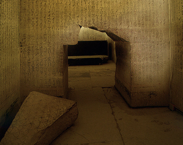 The pyramid of Unas, Saqqara, The interior walls are inscribed with the Pyramid Texts. These inscriptions can be divided among some 750 utterances and 2,300 shorter spells. Egypt. Ancient Egyptian. Old Kingdom, 5th dynasty. Saqqara. (Photo by Werner Forman/Universal Images Group/Getty Images)