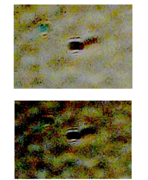 A view of an Invisible Terrestrial Entity of the first kind (ITE-1) detected in two different photos on September 5, 2015, in the evening sky over Tampa Bay. Florida, via the pair of 100 mm Galileo and Santilli telescopes with Sony Camera SLT-A58K set at ISO automatic and 15 seconds exposure. The entity is classified as an ISE-1 because it is solely detected via the Santilli telescope (thus emitting light with negative index of refraction), and it leaves a black image in the background of the digital camera (thus emitting light with negative energy).