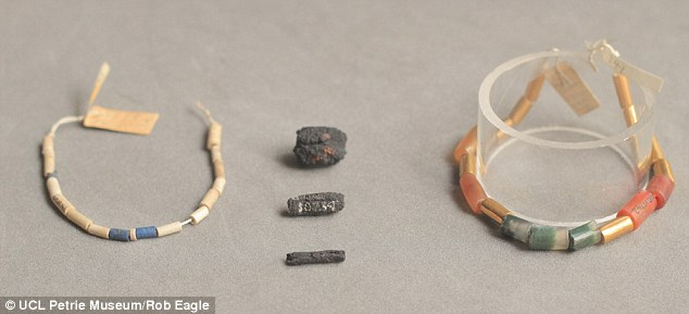 Scientists from the University College London's Petrie Museum conducted several tests of beads and necklaces, pictured in the image. They used gamma ray scans to demonstrate that the beads, which were  originally believed to be made from simple iron, were in fact created using fragments of meteorites thousands of years ago