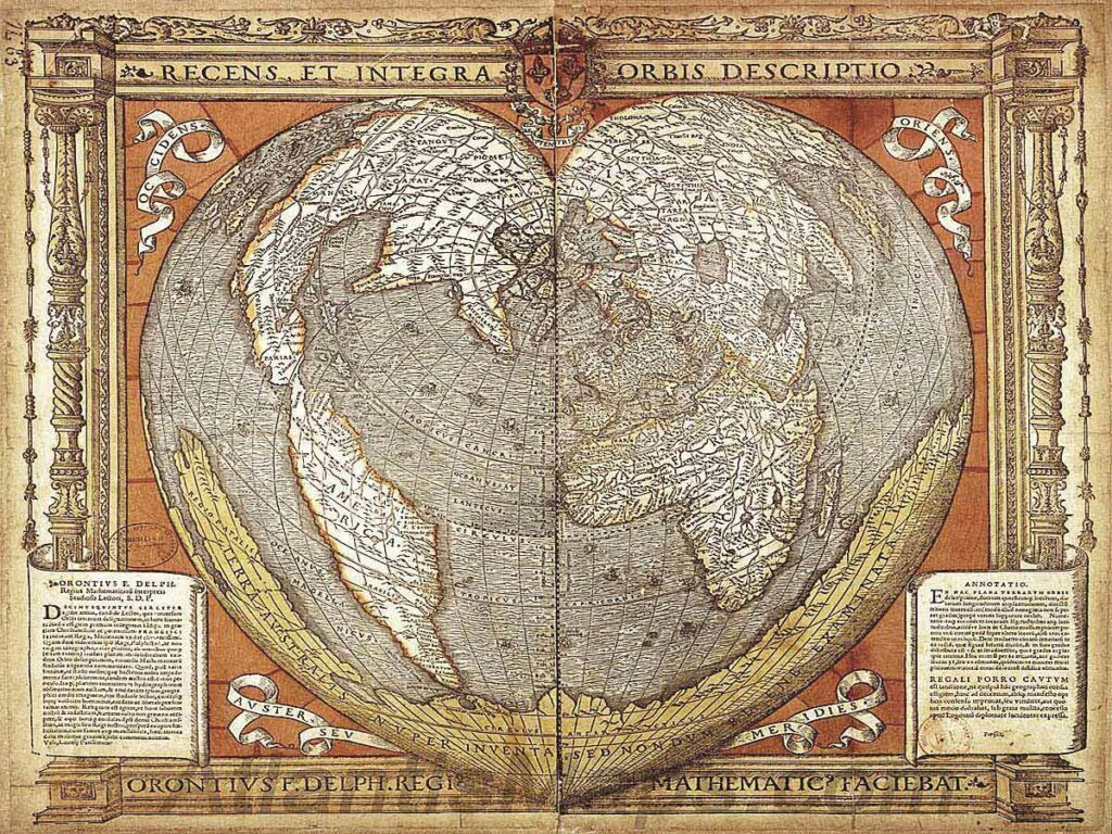 "1534: The Oronce Finé World Map. An early cordiform projection which features the Antarctic continent splayed along its southern edge some 300 years before it is believed to have been discovered. An inscription spans the width of the continent, ""Southern land newly discovered, but not yet fully explored."""