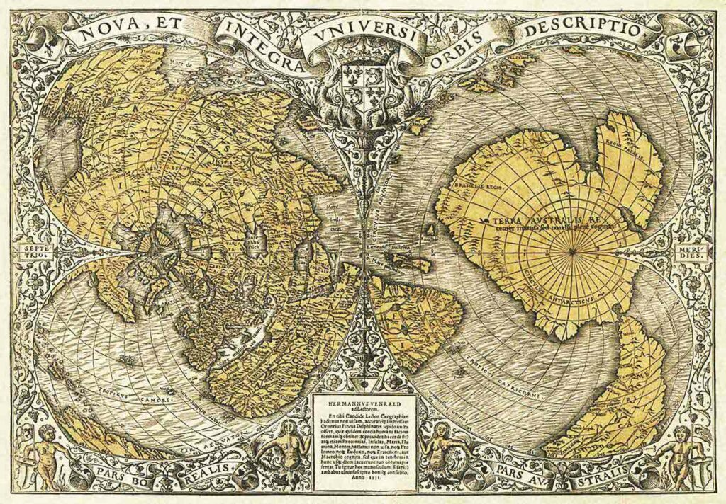 "1531: The Oronteus Finaeus map shows Antarctica before it was ""discovered"" and how it looked ice-free. The map shows rivers, valleys, and mountains..."