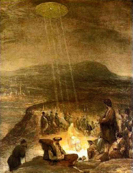 Image result for Ancient UFO? Painting from 1710 depicts huge flying-saucer shooting down rays of light