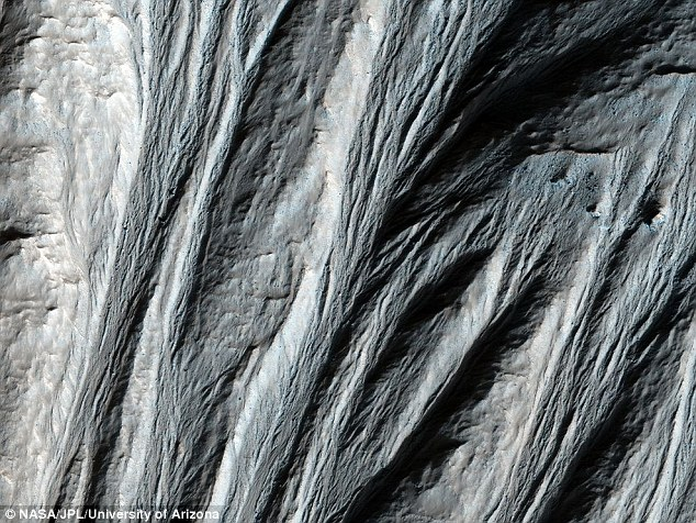 Gullies (pictured) and sediment in the Argyre basin are thought to be proof that liquid water once flowed and eroded the surface of Mars over a considerable period of time.