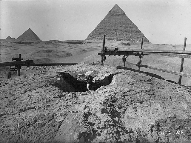This is a rare image of the Sphinx taken from a hot air balloon in the early 19th century This is before excavation and restoration