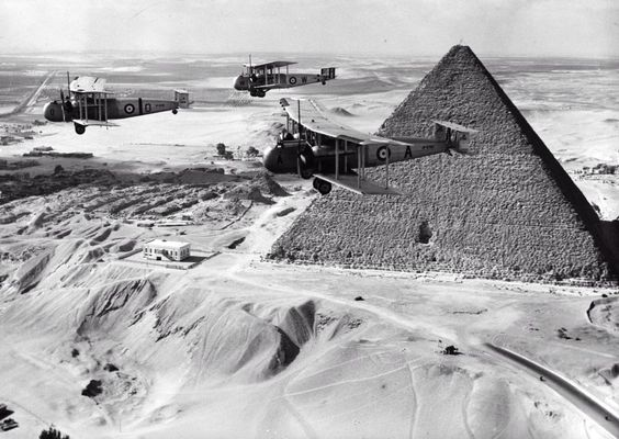 Vickers Valentias bomber transporters flying past the Great Pyramid of Khufu at Giza in 1936. The pyramid's original entrance can be clearly seen. Photo Charles Brown Getty Images