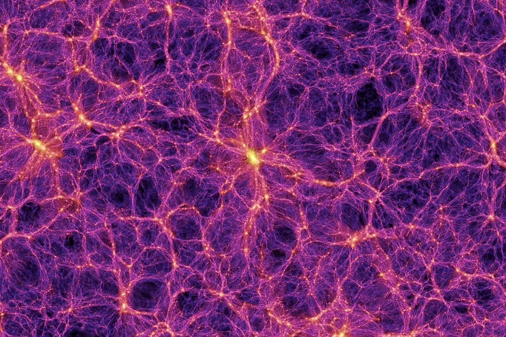 The universe is a web of giant clusters of matter surrounding empty voids Volker Springel/Max Planck Institute For Astrophysics/SPL