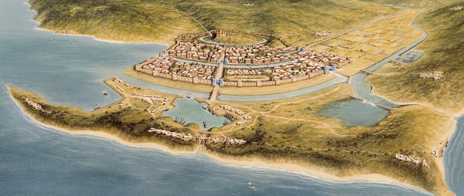 Artistic reconstruction of Late Bronze Age Troy (VIIa) as described by Guido de Columnis, Historia Destructionis Troiae (5.100-245) in 1287 (© Christoph Haußner)