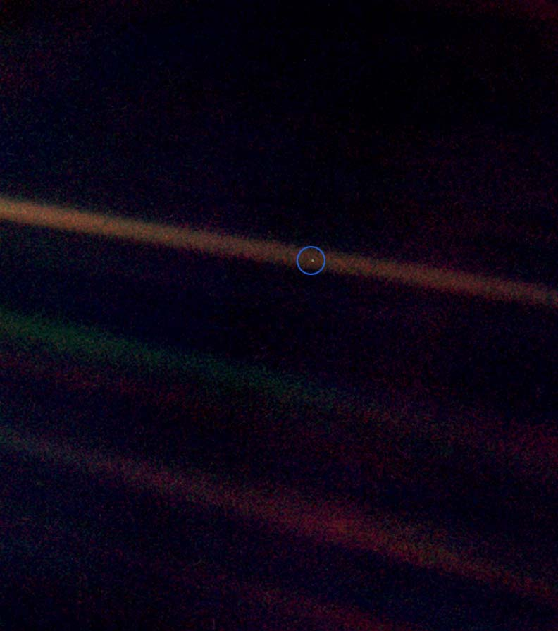 Look again at that dot That's here. That's home. That's us. On it everyone you love, everyone you know, everyone you ever heard of, every human being who ever was, lived out their lives... Image Credit: Wikimedia commons